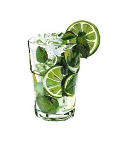 mojito illustration by Bruna Mebs markers and color pencils food illustration Zeichnungen und Bilder Watercolor Food, Watercolor Paintings, Watercolour, Food Illustrations, Illustration Art, Cocktail Illustration, Drawing Sketches, Art Drawings, Drawing Drawing