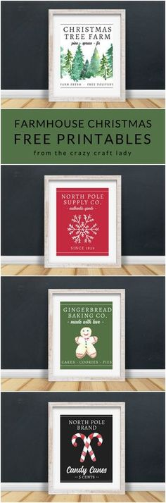 These FREE Farmhouse Christmas Art Printables are perfect for your holiday decor and gallery walls. 14 free classic Christmas printables. #FreePrintables #FarmhouseChristmas