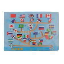 Kids Wooden National Flags Maze Flag Match Labyrinth Puzzle Education Toys