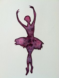 Original Ballerina Watercolor SIlhouette Ballet by Belle Papier Amazing baby gift