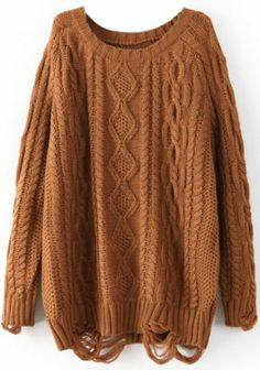 Coffee Long Sleeve Ripped Cable Knit Sweater pictures