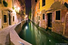 a water street in Venice - at night