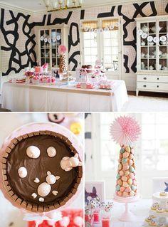 Beautiful indoor dessert table (love that wallpaper!)
