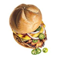 What You'll Need: 4 boneless, skinless chicken breasts (4 to 6 oz each) 4 pineapple slices (1/2-inch thick) 1/4 cup pickled jalapeno slices, or 1 fresh jalapeno, thinly sliced Teriyaki sauce 4 slices Swiss cheese 4 whole-wheat kaiser rolls 1/2 medium red onion, thinly sliced   How to make it: 1 Combine chicken and enough teriyaki sauce to cover it in a resealable plastic bag. Marinate in the refrigerator for at least 30 minutes and up to 12 hours.   2 Heat a grill until hot (you shouldn't be…