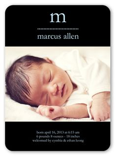 Inky Chic 5x7 Boy Baby Announcements | Shutterfly