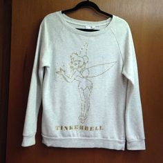 Cream tinker bell crew neck • cream crewneck with tinker bell design • like new • no wear/damage • may have been worn once a while back • Disney • Sweaters Crew & Scoop Necks