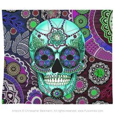 Sugar Skull Sombrero Night Tapestry - Day of the Dead Art - Fusion Idol - Art and Gifts by Artist Christopher Beikmann Compass Tattoo, Sugar Skull Shower Curtain, Day Of The Dead Artwork, Day Of The Dead Skull, Sugar Skull Artwork, Sugar Skull Tattoos, Sugar Skulls, Skull Pillow, Paisley
