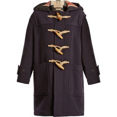 Burberry Greenwich hooded wool-blend coat (16.030.445 IDR) ❤ liked on Polyvore featuring outerwear, coats, navy, hooded toggle coats, checked coat, toggle coats, navy coat and hooded coat