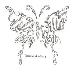 names made into a butterfly shaped tattoo design by Denise A. Wells, Fonts by Denise A. Wells, butterfly tattoo by Denise A. Wells, Denise tattoo, Denise Wells lettering, Lepidoptera Tattoos, colorful Lepidoptera, Lepidoptera