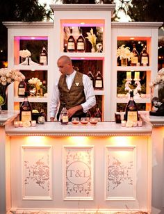 chic bar set up for outdoor wedding
