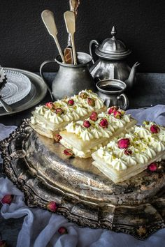 Rose And Cardamom Cheesecake Mille-feuille