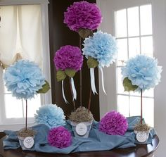 potted tissue flowers