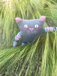 Art doll grey cat - Hand knitted grey toy - Stuffed toy - Nursery décor - Cat birthday gift for cat lover - Soft toy - Housewarming gift
