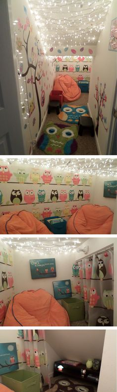 This is the closet under our stairs I decorated to be a story nook for our children. They LOVE being in here!