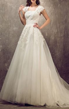 A-line Princess Queen Anne Sweep/Brush Train Tulle And Lace Wedding Dress
