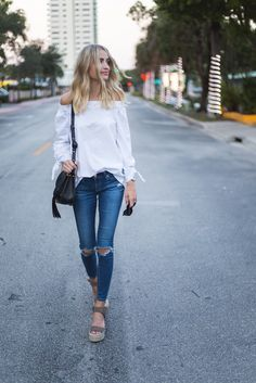Little Blonde Book by Taylor Morgan | A Life and Style Blog : Off Shoulder Blouse + Ripped Denim