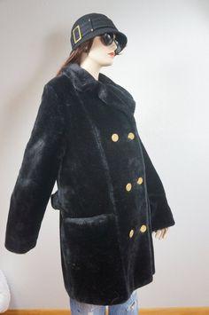 16616601767 70s Double Breasted Black Faux Fur Coat - Union Made USA sz 13 / Vng Plush  Waist Coat by Susan Lynn / Hippie Boho Black Faux Fur