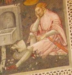 """Spoleto, Rocca di Albornoz, """"Camera Pinta"""" 1390-1410: si può notare l'affrappatura del fondo /  It's possible to notice the dagged edge."""