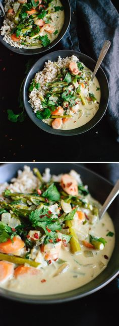 This Thai green curry is full of spring vegetables and spinach! cookieandkate.com