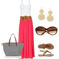 Maxi skirt with a wide belt, white tank, sandals, earrings and a big bag.