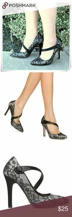 """Terilyn heels. Ladylike lace and satin dressy shoes. Great for work or going out. Look very elegant.  Details: heel 4-1/4"""", plarform 1/4"""", fits narrow, seems like TTS to me, but the pointy toes make the shoe box tight, also the strap won't fit wider feet.  Please use only ✔OFFER 👈🔴 button for all price negotiations. I'll do 👉🍓a price drop⤵ for you for discounted shipping, if we agree about the price. Shoe Dazzle Shoes Heels"""