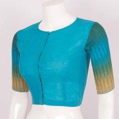 Hand Crafted Blue Slim Fit Cotton Blouse 10017033 Size - 36 - AVISHYA.COM