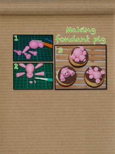 Making fondant pig Fondant Toppers, Cupcake Toppers, Cupcakes, Cupcake Cakes, Cake Decorating Tutorials, Cookie Decorating, Farm Animal Cakes, Making Fondant, Biscuit