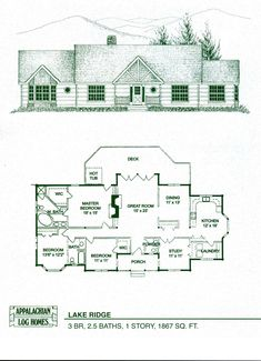 Log Home Floor Plans - Log Cabin Kits - Appalachian Log Homes. I like this floor plan just continue the hall to add another bathroom, bedroom and a big game room. Log Cabin Floor Plans, Log Cabin Kits, Log Home Plans, Cabin Plans, House Floor Plans, Cabin Ideas, House Ideas, Log Cabin Living, Log Cabin Homes