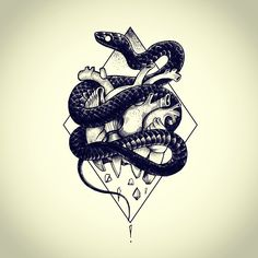 snake heart tattoo flash by Miss Sita @ One O Nine Barceloan www.109.es