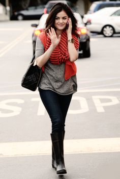 Lucy Hale style - mostly fray and black with a huge pop of colour :)