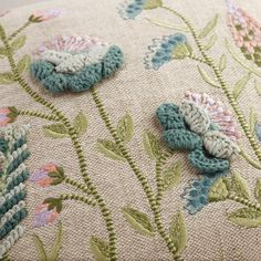 Featuring our enchanting floral design with intricate embroidery and crocheted yarn details that add three-dimensional flair, this exclusive throw pillow boasts a textured, burlap-like feel and a dupioni back. Couture Embroidery, Hand Embroidery, Embroidery Designs, Natural Cushions, Crochet Cushions, Pillow Texture, How To Make Pillows, Hand Stitching, Elsa