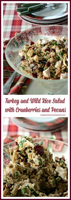Turkey and Wild Rice Salad with Cranberries and Pecans! A healthy and ...