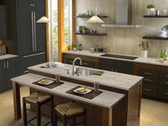 I decorated using My Room Designer from DuPont. Corian® Saffron has warm golden veins swirling through a light translucent base with a range of light particles. Quartz Countertops, Kitchen Countertops, Corian Colors, Corian Solid Surface, My Room, Surface Design, Room Designer, Interior, Inspiration