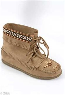 Taupe Beaded Moccasin Bootie
