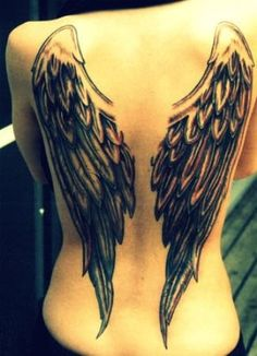 back wings...I want one of these on one side... And something darker on the other, with a prayer in the middle