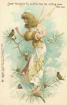 Raphael Tuck postcard: 'Sweet thoughts fly swiftlier than the drifting snow.' - Wm. Morris