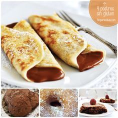 Crepes with dulce de leche. Gluten free crepes filled with dulce de leche (in Spanish) Gluten Free Sweets, Gluten Free Recipes, Healthy Recipes, Healthy Eats, Homemade Crepes, Crepes Filling, How To Make Crepe, Pancakes And Waffles, Gluten Free Cakes