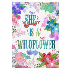 Wall art flowers hand lettering she is a wildflower digital instant download watercolor floral colorful quote print by Lebonretro on Etsy