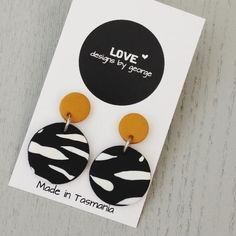 Hottest Free black Clay diy Thoughts Black and White Earrings, Surgical Steel Earrings, Mustard Earrings, Clay Earrings, Polymer Clay Ea Fimo Clay, Polymer Clay Crafts, Polymer Clay Jewelry, Diy Clay Earrings, Black And White Earrings, Surgical Steel Earrings, Gifts For Her, Creations, Handmade Jewelry