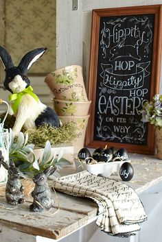 Highlight the natural side of Easter with chalkboard-inspired accents, like Pier 1's Hippity Hop Chalkboard Easter Sign.