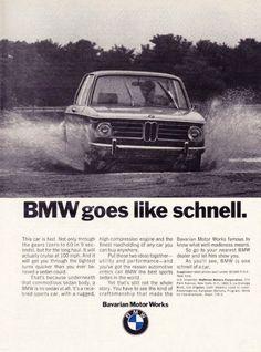 """1970 BMW Sedan Car Ad """"Schnell"""""""