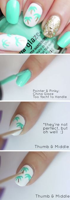 épinglé par ❃❀CM❁✿Easy Palm Tree Nail Art | 18 Easy Summer Nails Designs for Summer | Cute Nail Art Ideas for Teens