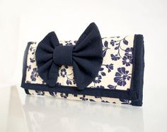 Nautical Navy Blue and White Wallet Floral Wallet