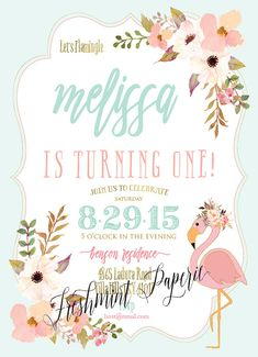 Printable invitations flamingo invitation by FreshmintPaperie