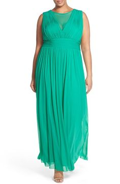 Marina Illusion V-Neck Sleeveless Gown (Plus Size) available at #Nordstrom