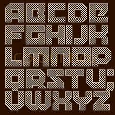 Modern type. Brick typeface filled with diagonal lines - colourbox.com