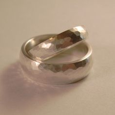 Wedding Bands Hand Forged Sterling Silver by ChrisMuellerJewelry, $158.00