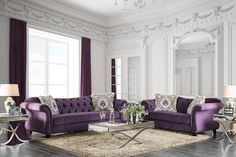 Antoinette Traditional Purple Fabric Loveseat