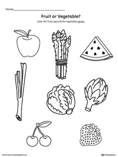 **FREE**Color the Fruits and Vegetables. Practice identifying fruits and vegetables by coloring the fruits red and the vegetables green in this science printable worksheet.