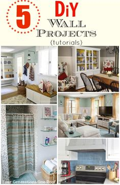 5 DIY Wall Project tutorials including how to install board and batten, wainscoting, wide pine planks, subway tiles and mosaic tiles. @Mandy Dewey Generations One Roof